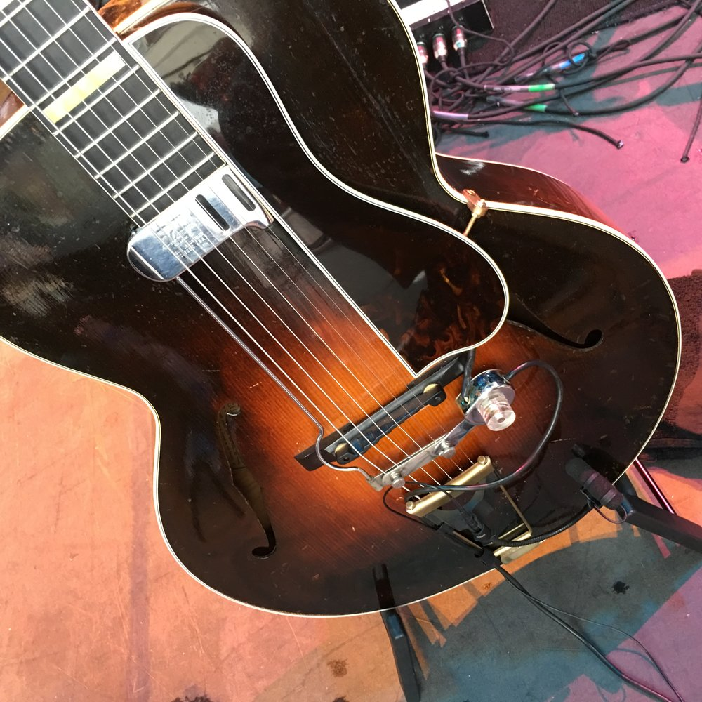 1932 L-5 with both a DeArmond Guitar Mic magnetic pickup AND a DPA4099C microphone