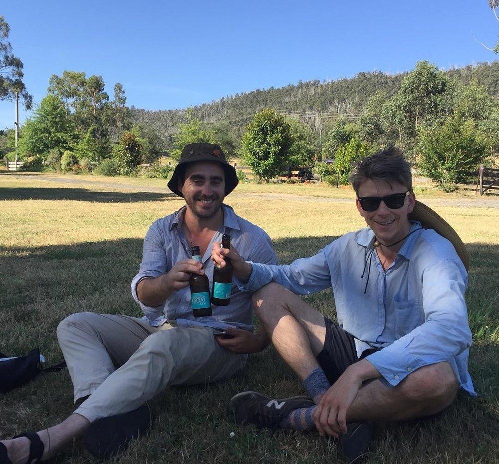 Jonathan and Jay enjoying a well earned beer