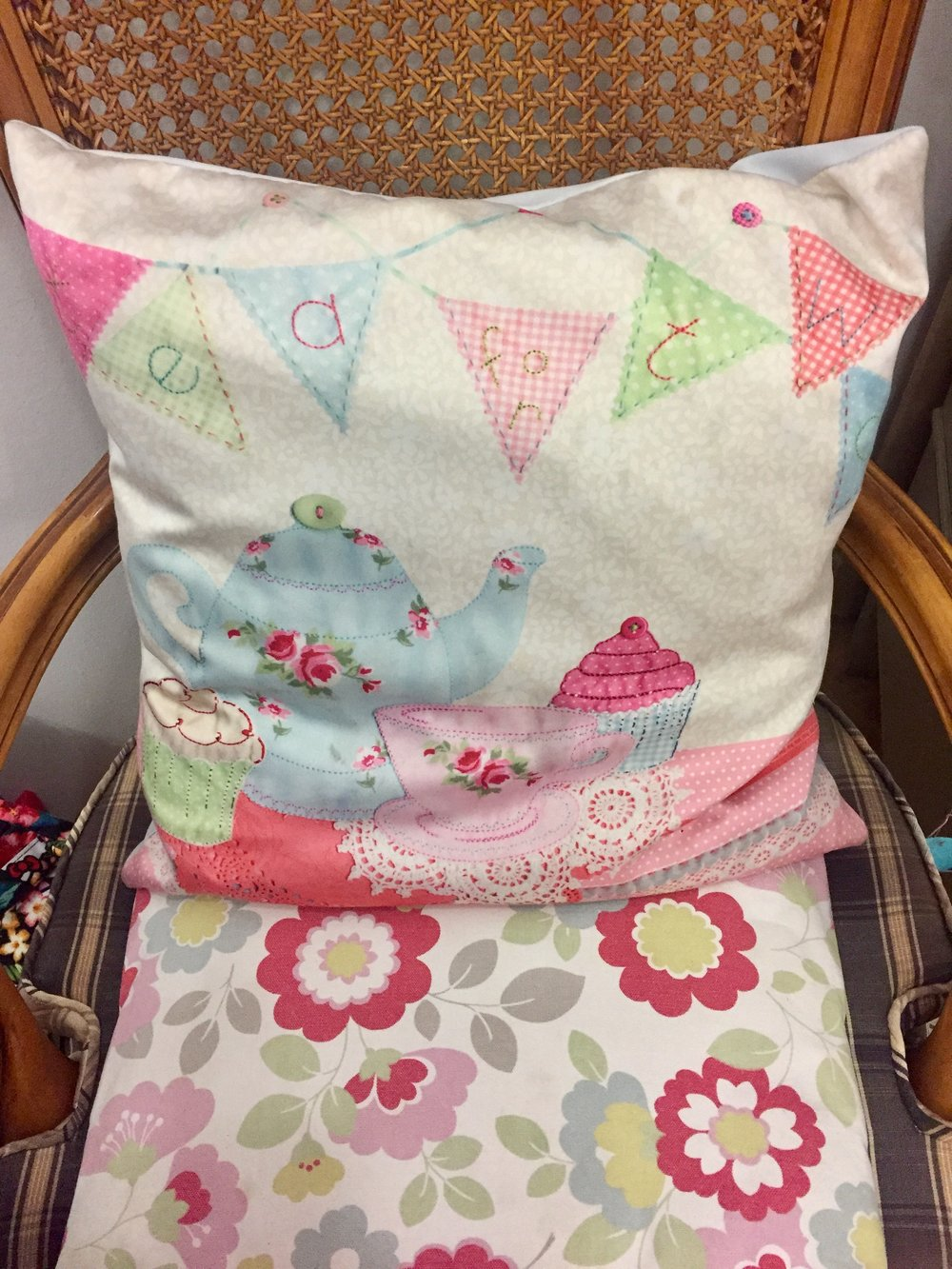 """I'm inspired to make something like this now - """"tea for two"""" embroidered pillow."""