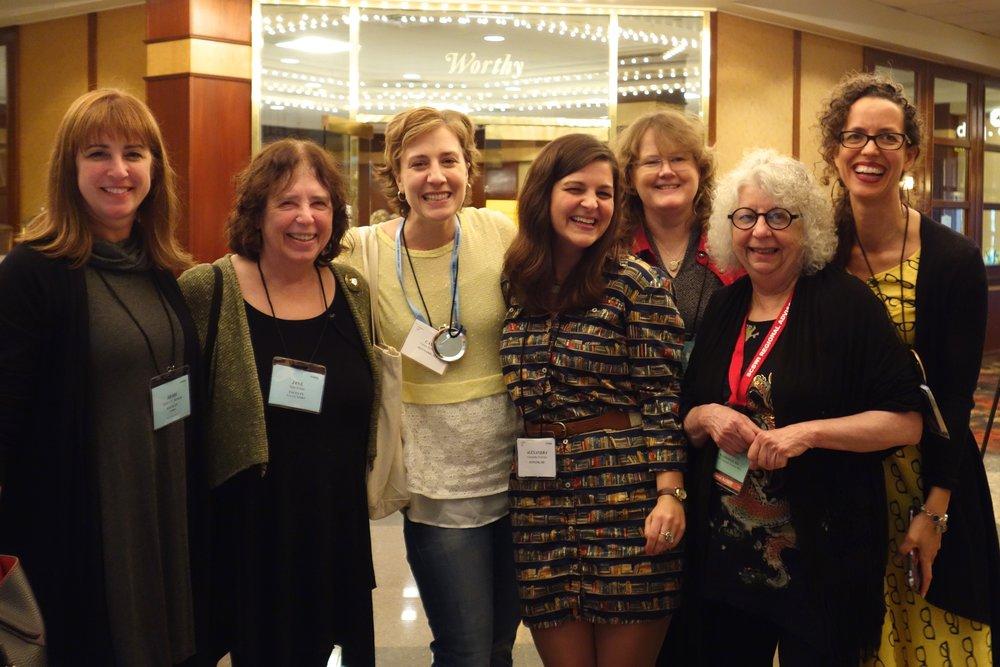 PBBC alumni @NE-SCBWI (l to r): Heidi Stemple, Jane Yolen, Moi, Alexandra Hinrichs, Lynda Mullaly Hunt, Margot Lemieux, Kirsti Call (photo credit: Sarah Corson)