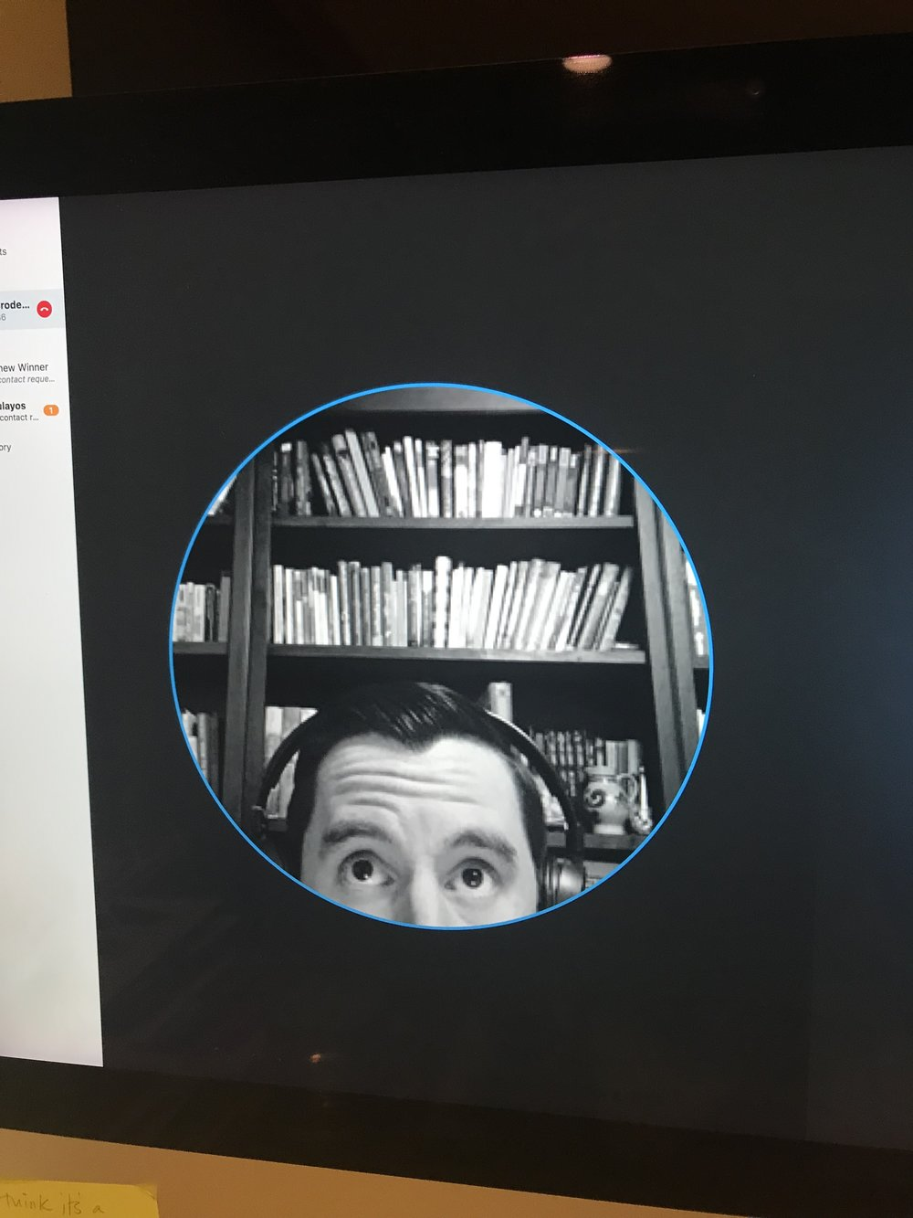 My computer screen image during my Skype interview with Matthew Winner — kept me smiling!