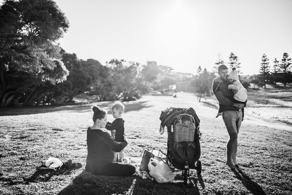 family getting changed at park BW (1 of 1).jpg