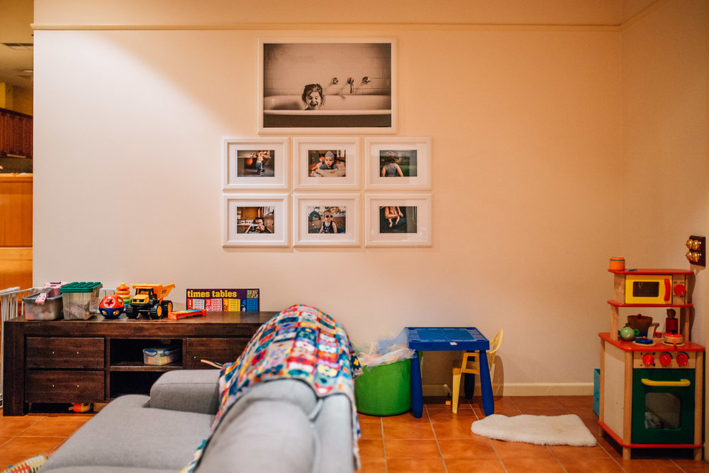 Here's that poster sized piece on the wall, along with the beginnings of a large lifestyle gallery. Our precious, gloriously imperfect life in pictures - what could possibly be better?
