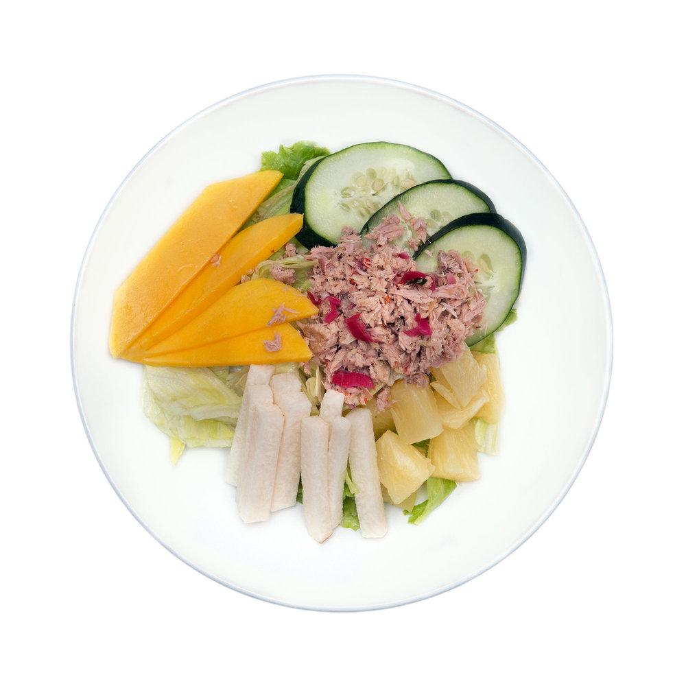 Rujak Bulung $7.95 - Tuna, young papaya, lemon grass, chillies, vinaigrette dressing