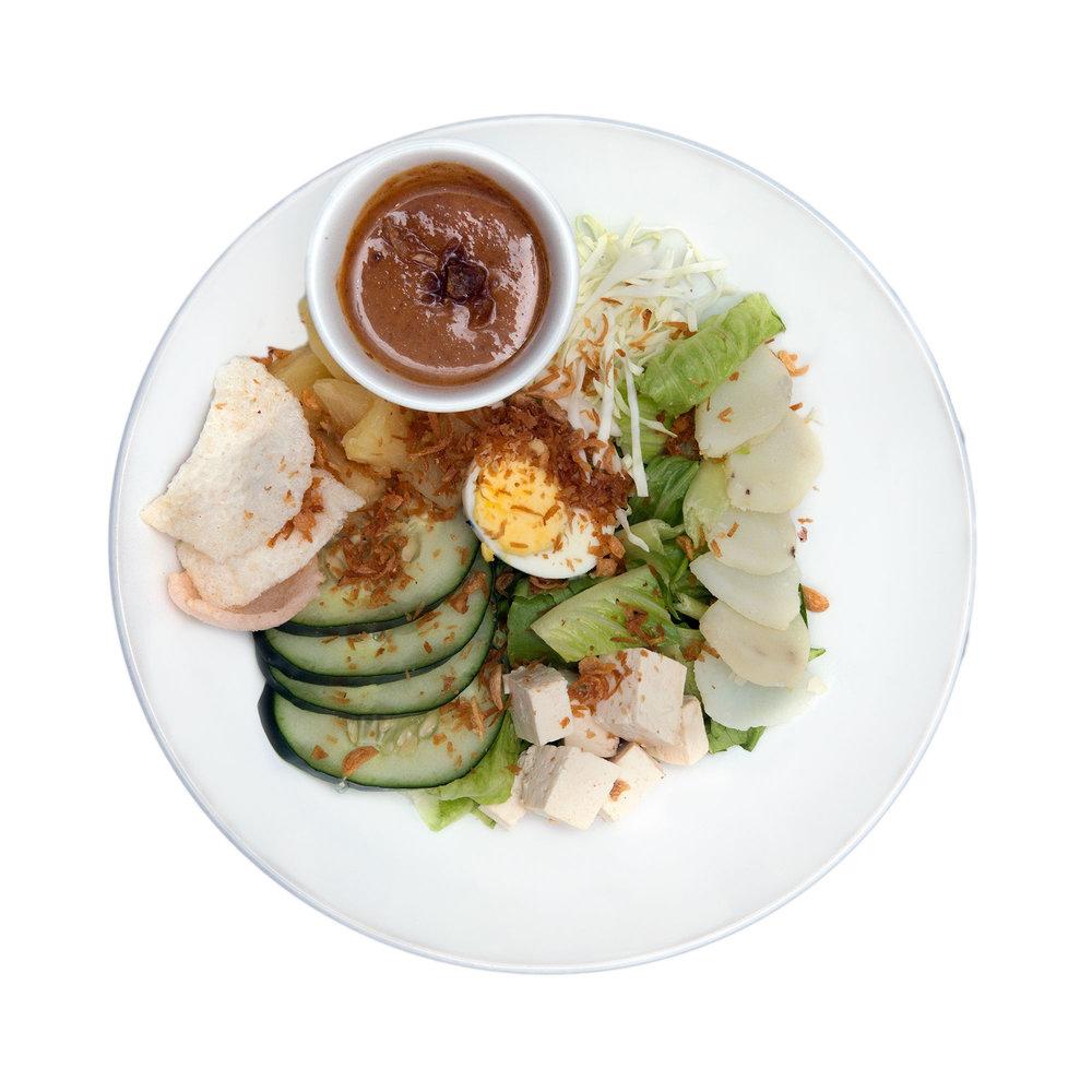Lalap Pengantin $7.95 (Veg) - Tofu, potatoes, boiled eggs, romaine lettuce, emping chips, peanut dressing
