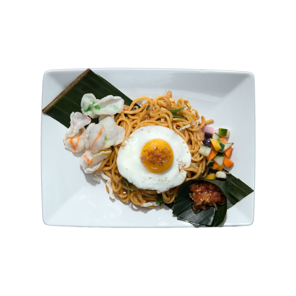 Mie Goreng $10.95 (V) - Egg fried noodles with chicken or tofu, egg, green onion