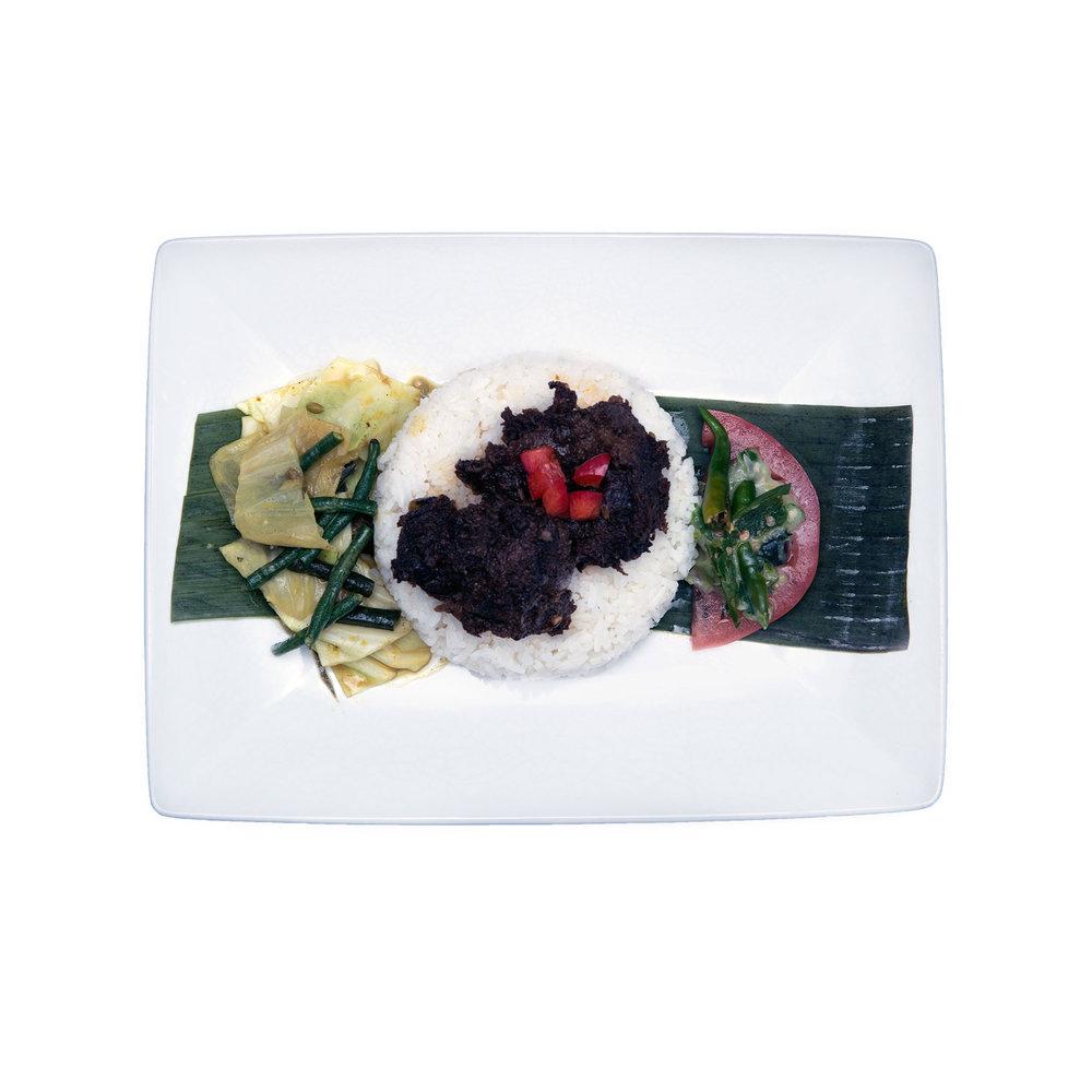 Rendang $13.95 (V) - Dried beef or mushroom stew, vegetables, coconut milk, sambal, jasmine rice