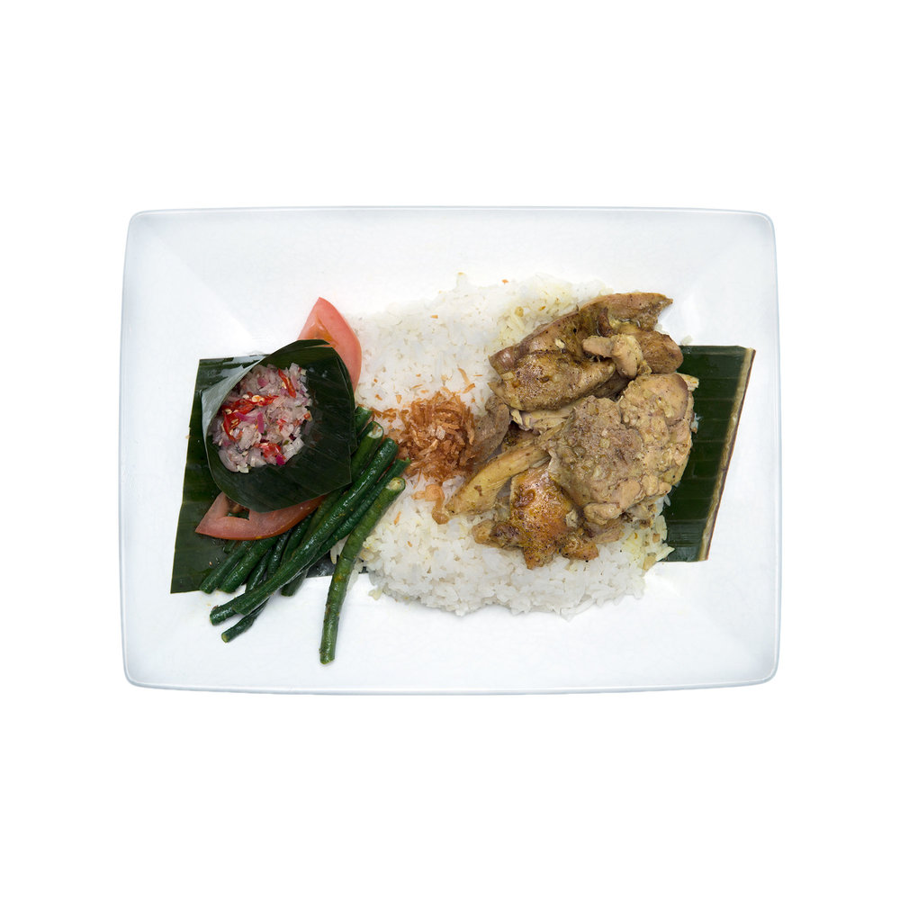 Betutu $12.95 - Slow cooked chicken or tofu in Balinese spices, shredded coconut, long bean, jasmine rice