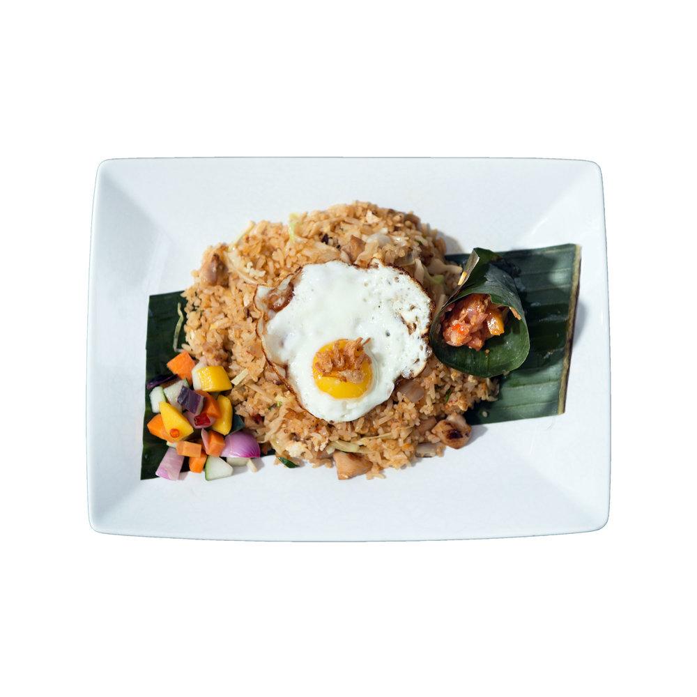 Nasi Goreng $10.95 (V) - Fried rice with chicken or tofu, egg, garlic crackers
