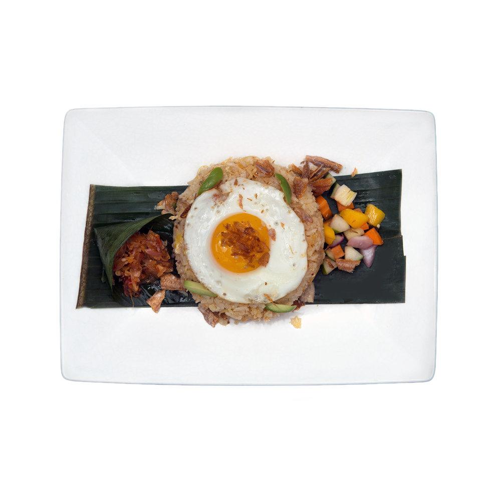 Nasi Goreng Kampung $11.95 - Fried rice with dried fish, stinky bean, shrimp paste, crackers