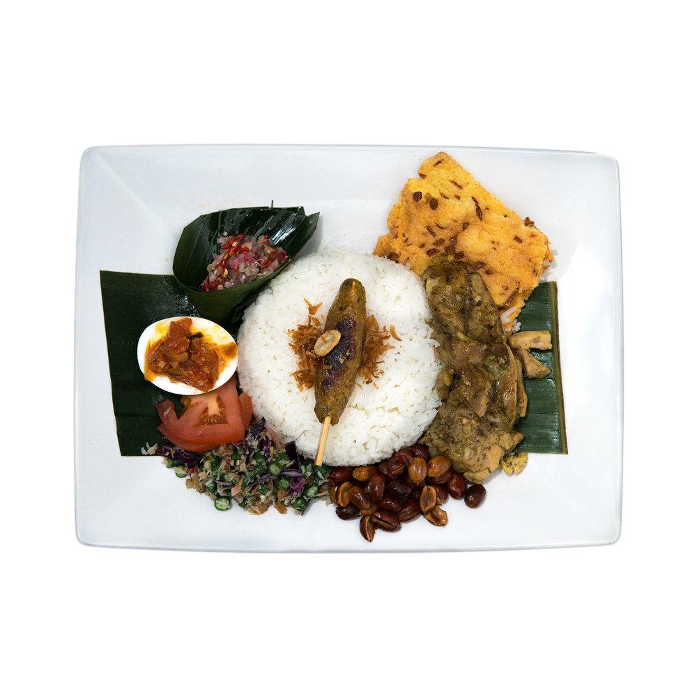 Nasi Campur Bali $14.95 - Satay, lawar, matah sauce, tempeh, balado egg, peanuts, jasmine rice