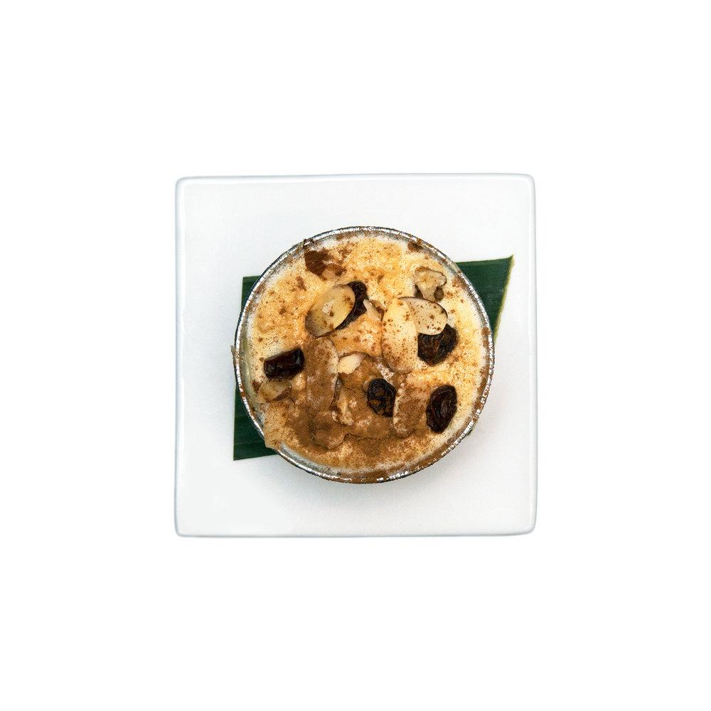 Klappertaart $5.00 - Coconut, walnut, almond, raisin, eggs, cream, cinnamon