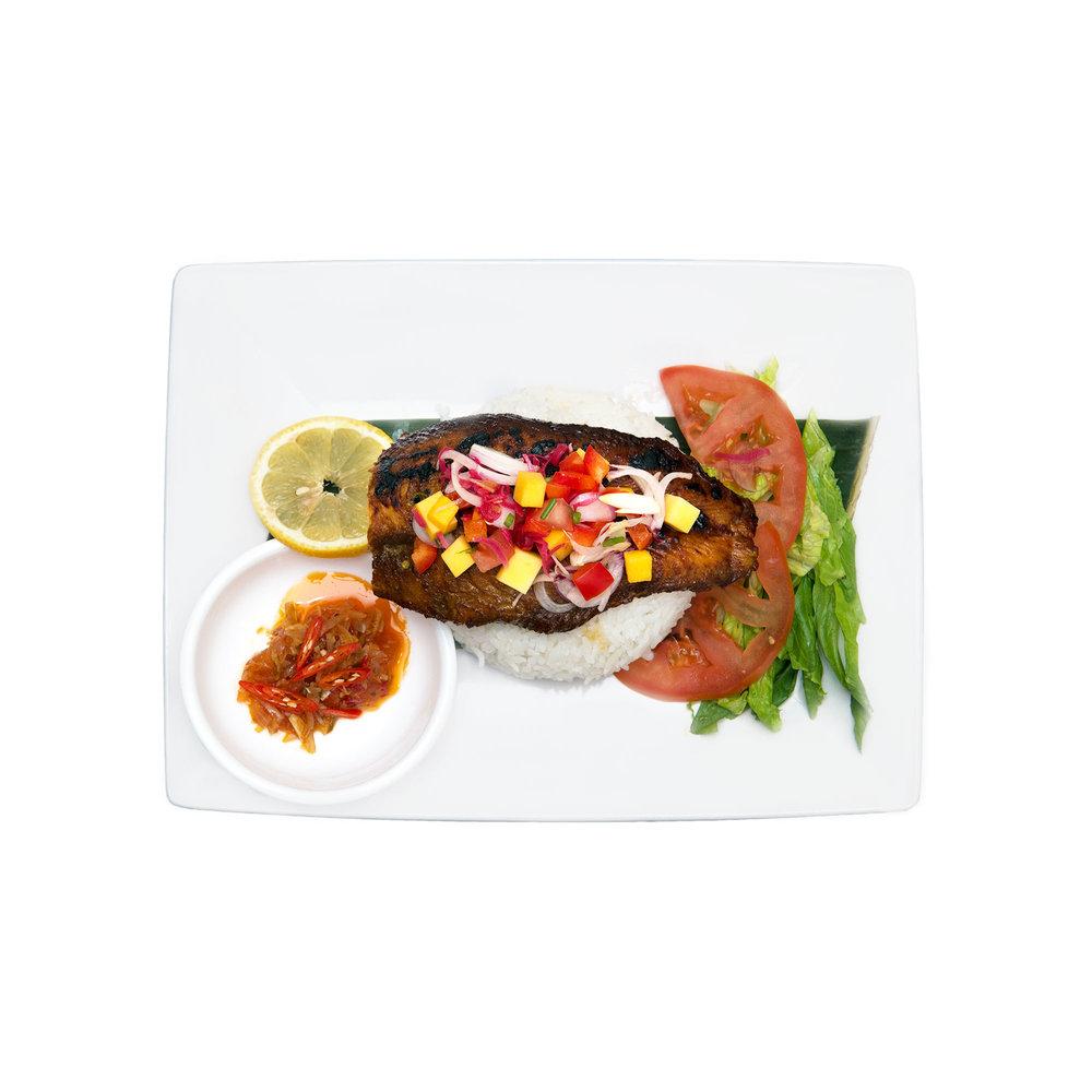 Dabu Dabu $14.95 - Broiled fish, mango and pineapple salsa, jasmine rice