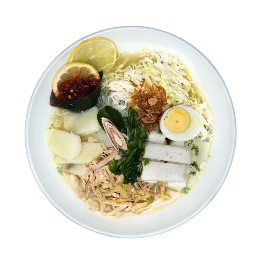 Soto Ambengan  $11.95 (Veg) - Crystal noodles with chicken or tofu, sprouts, boiled eggs, rice cake, lemon grass