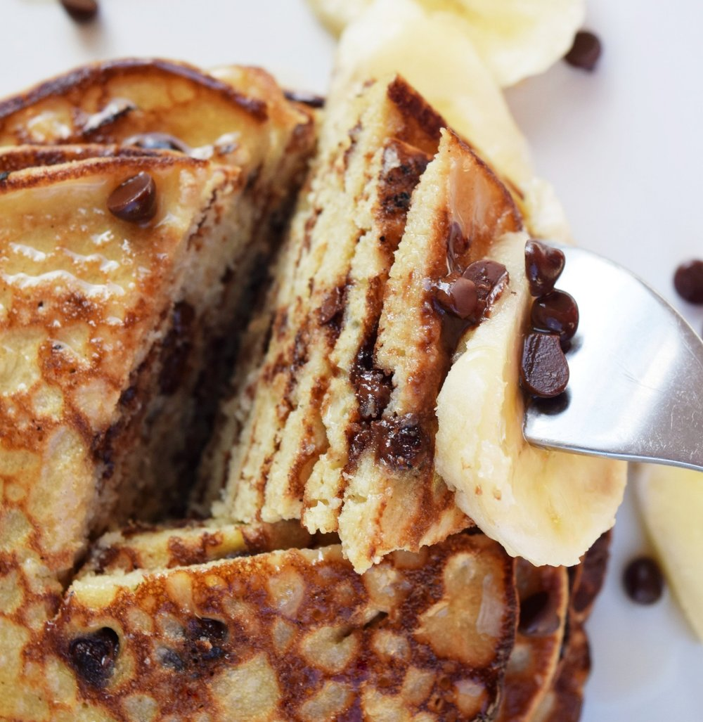 Fluffy Quinoa Chocolate Chip Pancakes