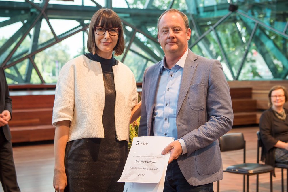 Director, Matthew Dwyer wins the Architectural Services Award 2017. Award presented by Emma Telfer of Open House Melbourne. Photography by Port Melbourne Photography.