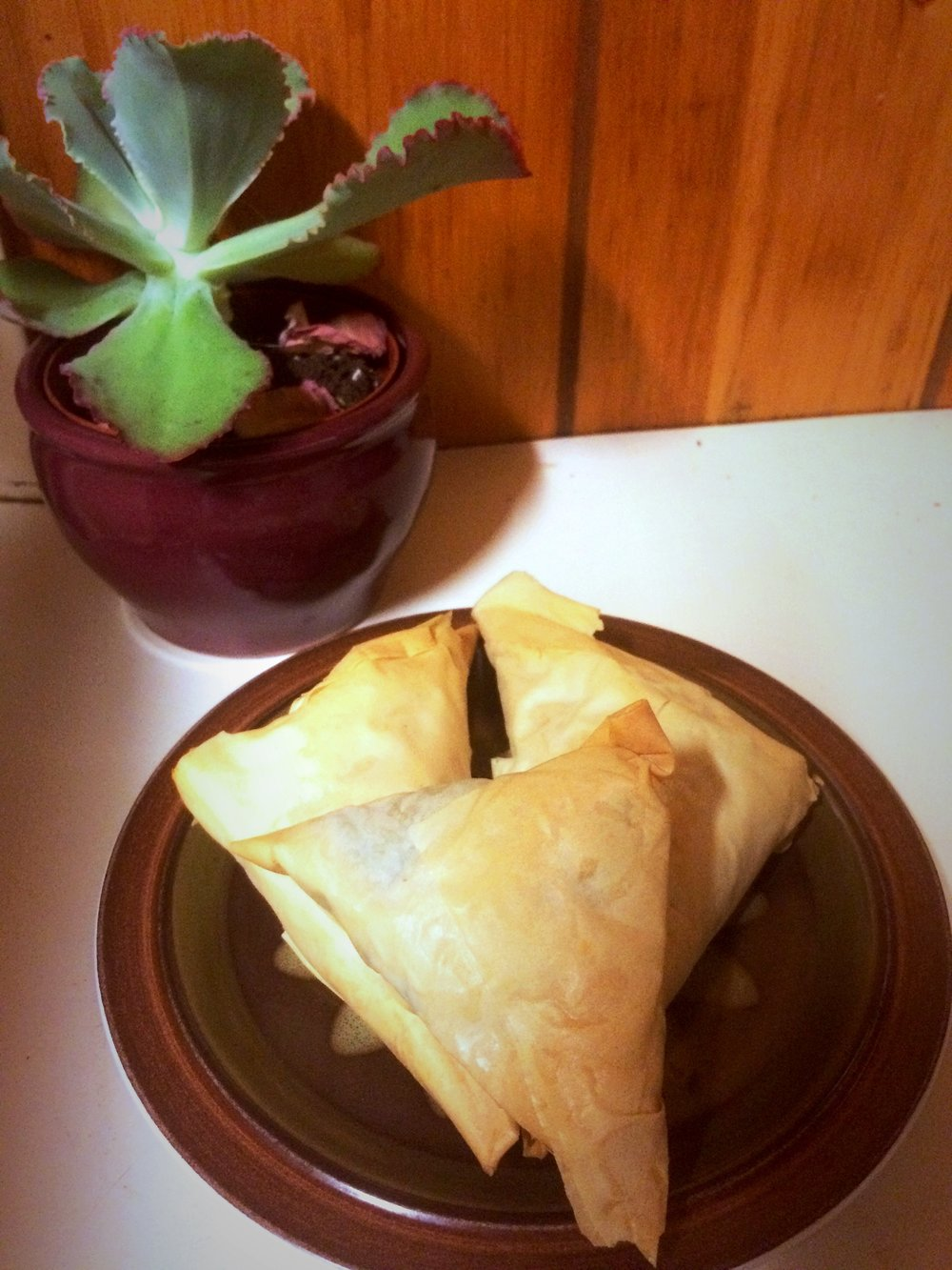 Spanikopita - For the dough:Phyllo doughButterOlive OIlFor the filling:ButterGarlicOnionSpinachFeta1 eggSaltPepper