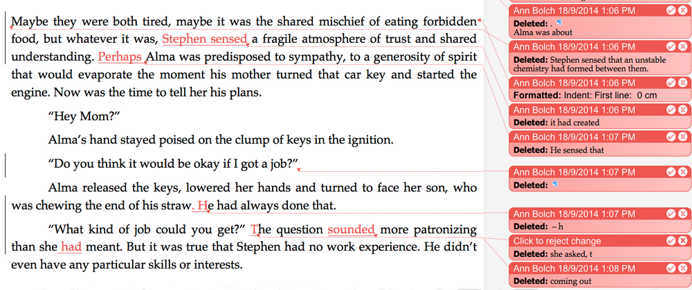 Sample copy edit from Yannick Thoraval's first novel,  The Current