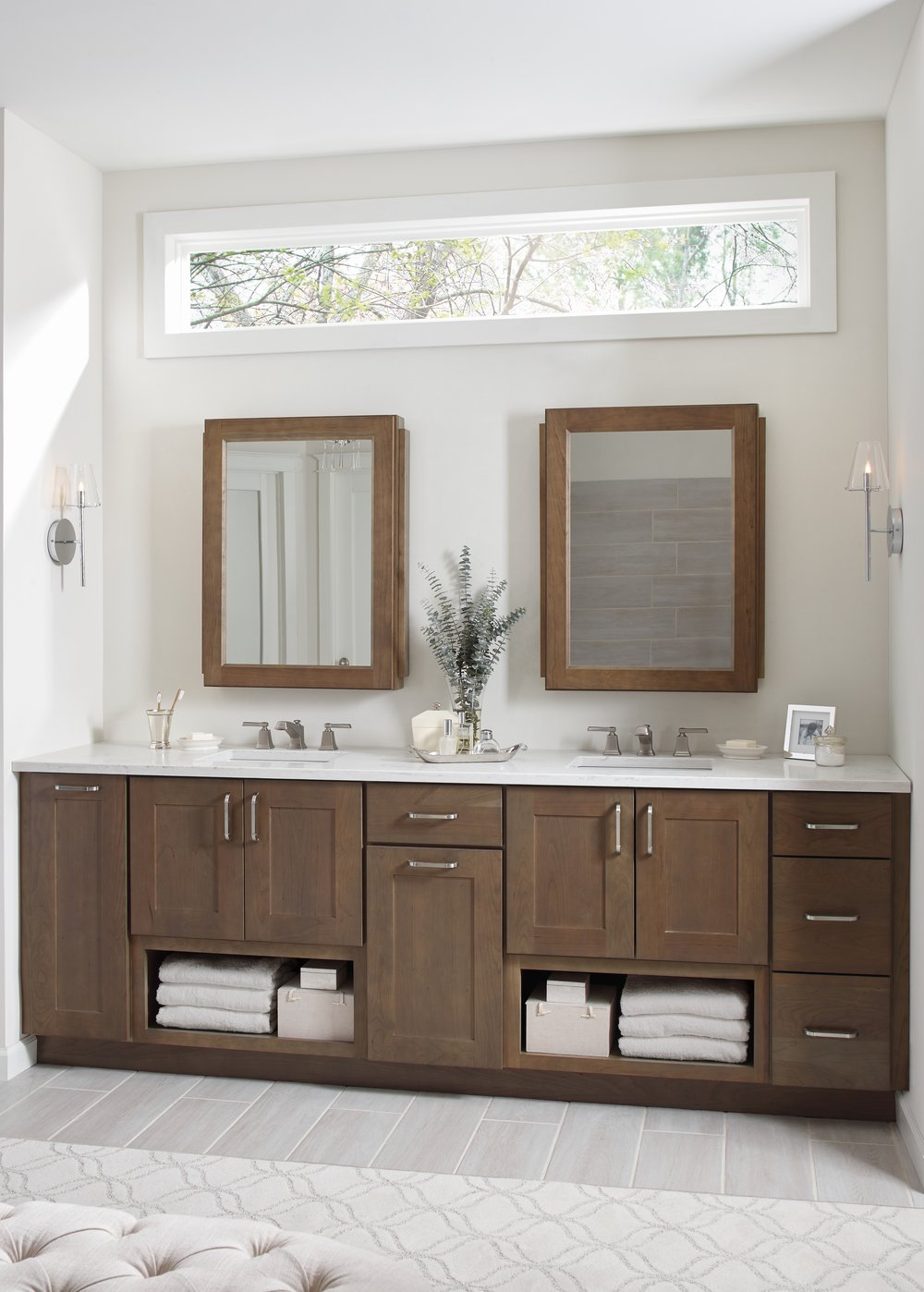 Nicole Janes Design Diamond Cabinets Wood Master Bathroom Double Vanity Medicine Cabinets