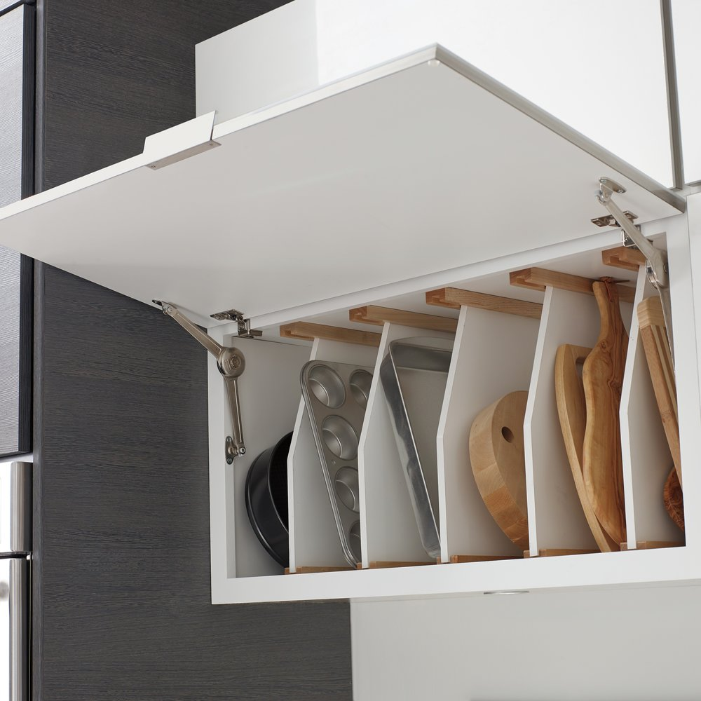 Tray Dividers behind Lift Up Door  Source -  Masterbrand Cabinetry