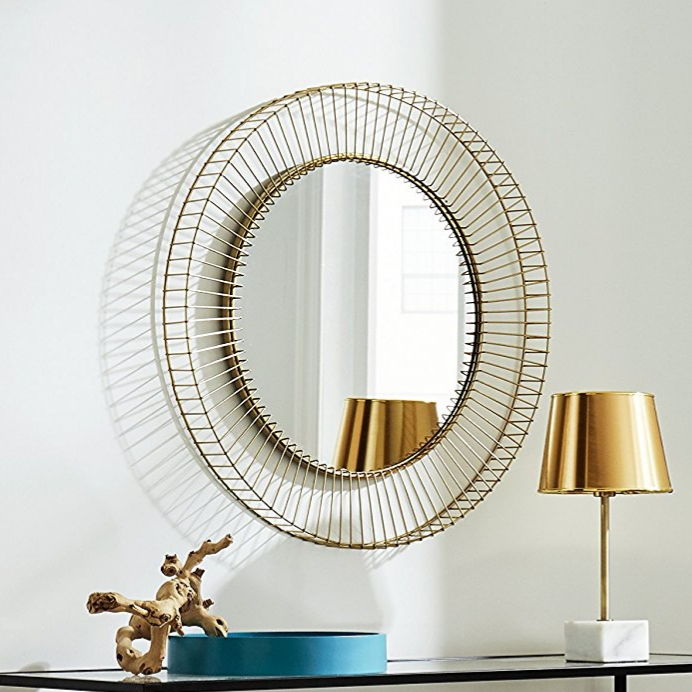 River round gold wire mirror