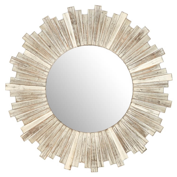 E2 CONCEPTS Round Wooden White Mirror Rustic Round Weathered White Wash Nordstrom Anniversary Sale