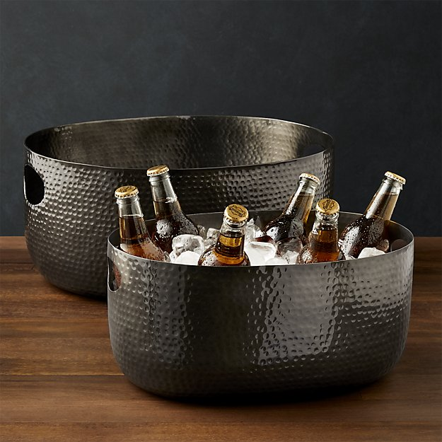 Bash Graphite Beverage Tub Oval Graphite hammered aluminum