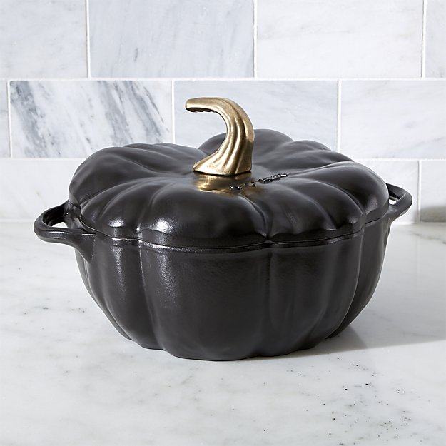 Staub 3.5-qt Black Cast Iron Pumpkin Cocotte Crate and Barrel