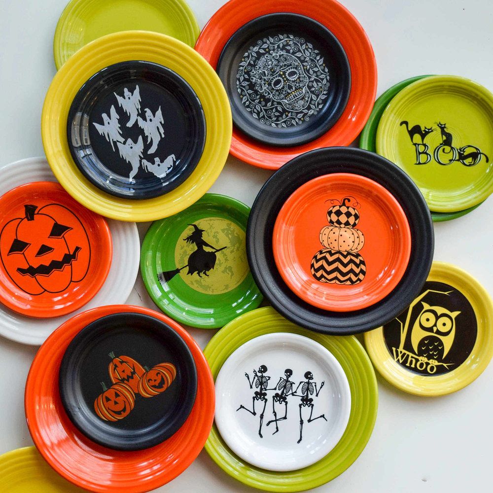 Fiestaware Halloween Luncheon and Appetizer Plate Collection