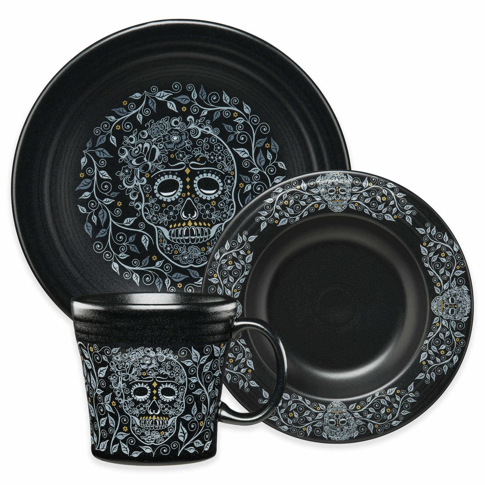 Fiesta Skull and Vine Dinnerware Collection in Black