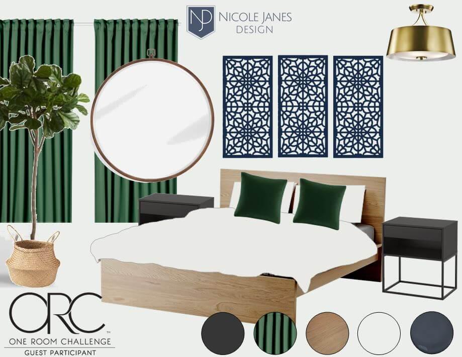 Fall 2018 One Room Challenge Mood Board Nicole Janes Design Green Black Oak Brass Natural Boho.JPG