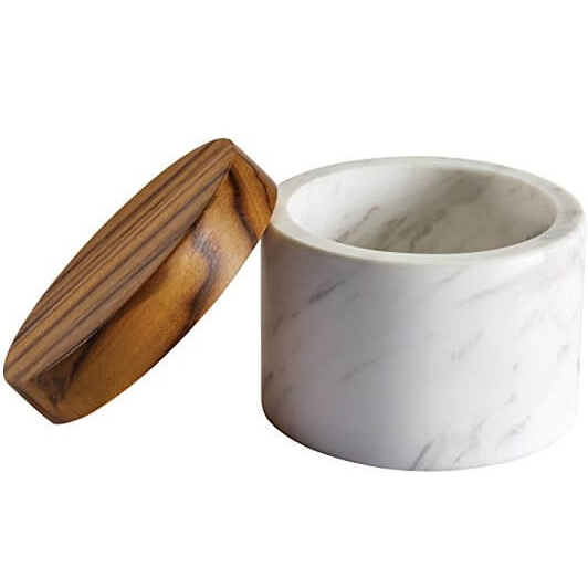 Anolon Pantryware White Marble Salt Cellar with Teak Wood Lid 5.25 Nicole Janes Design
