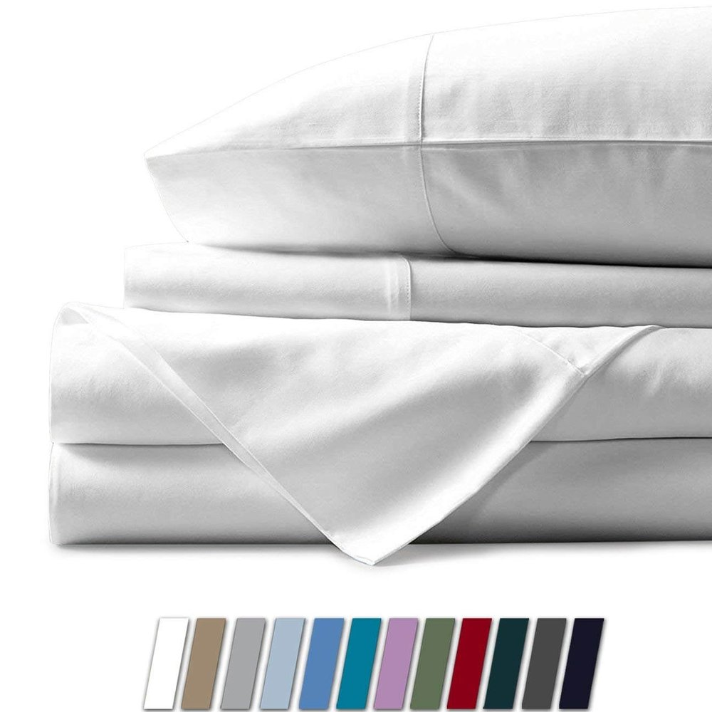 Mayfair Linen 100% Egyptian Cotton Sheet Set 800 Thread Count Long Staple Cotton Sateen Weave Fits Mattress Up to 18'' deep Pocket