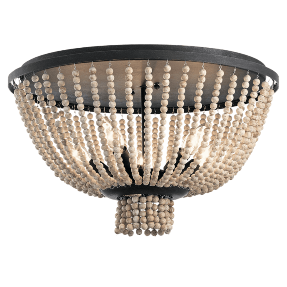 Kichler Brisbane 5 Light Flush Mount Ceiling Fixture 43893DBK Distressed Black Beaded Bead Strings