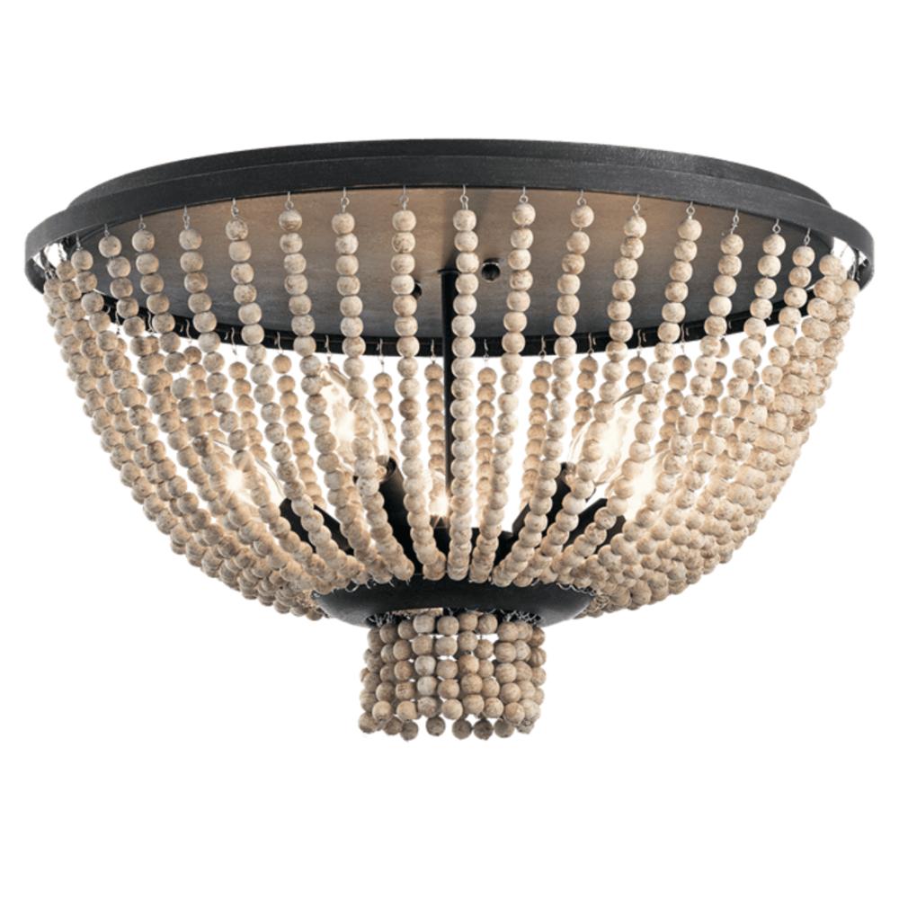 Kichler Brisbane 5 Light Flush Mount Ceiling Fixture 43893DBK Distressed Black Beaded Bead Strings