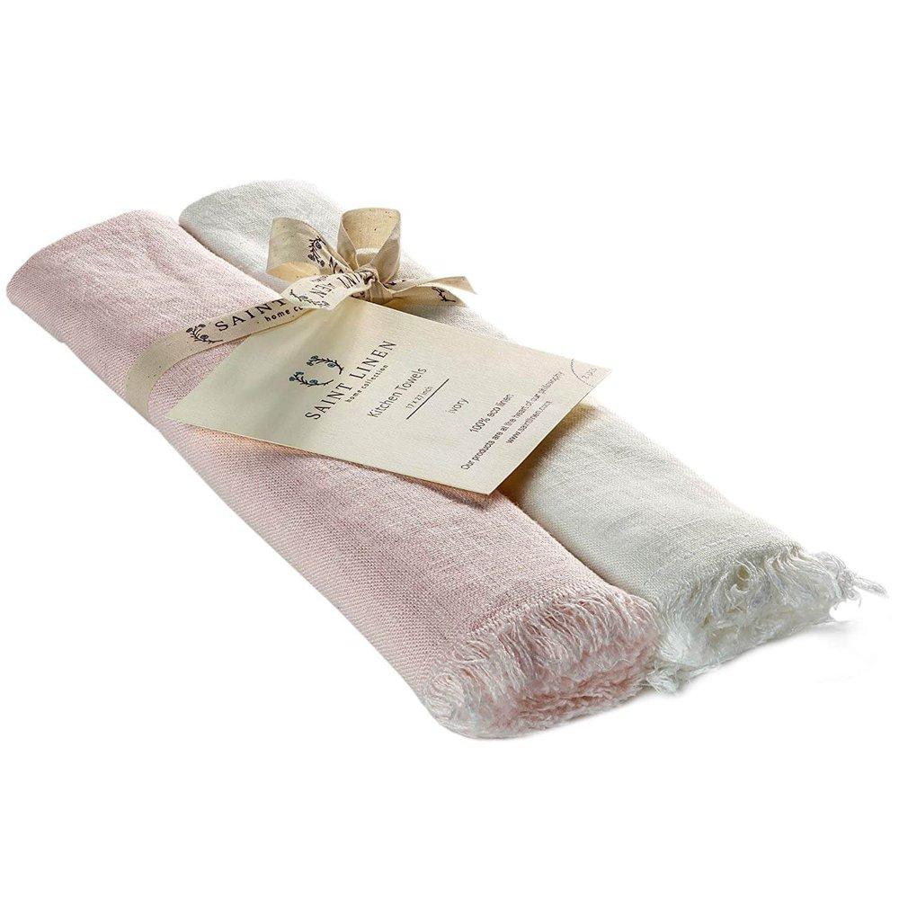 Saint Linen Set of 2 Linen Stone Washed Kitchen Towels