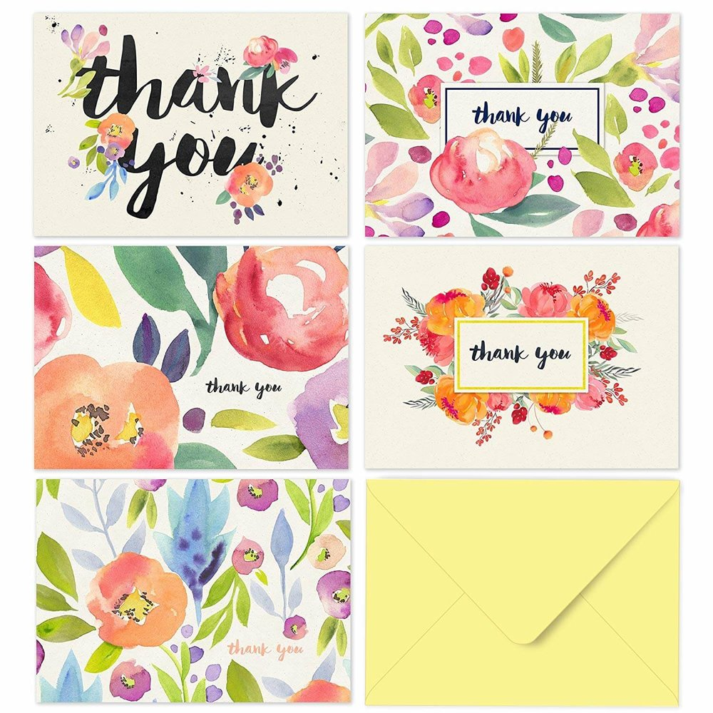 Watercolor Floral Blank Thank You Cards with Envelopes