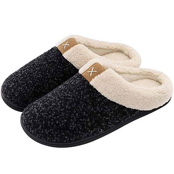 Mens Cozy Fuzzy Wool Like Plush Fleece Memory Foam Slippers