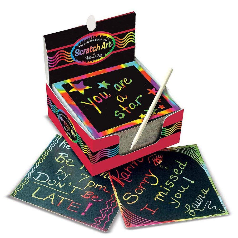 Melissa & Doug Scratch Art Rainbow Mini Notes 125 ct With Wooden Stylus