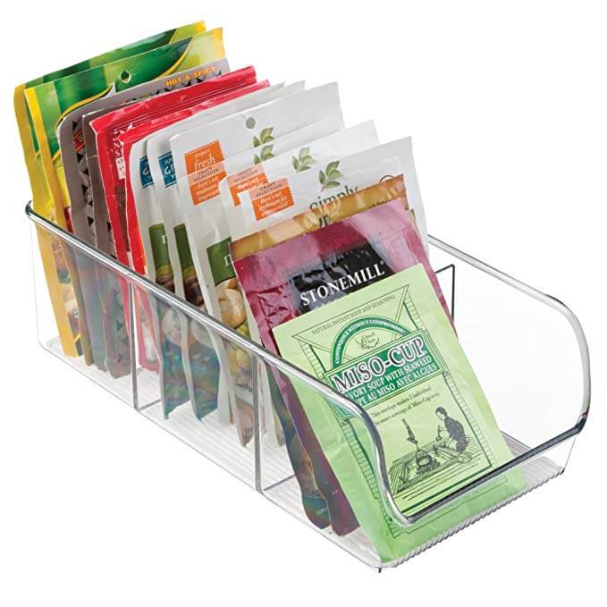 Clear Stacking Food Packet Organizer Bins
