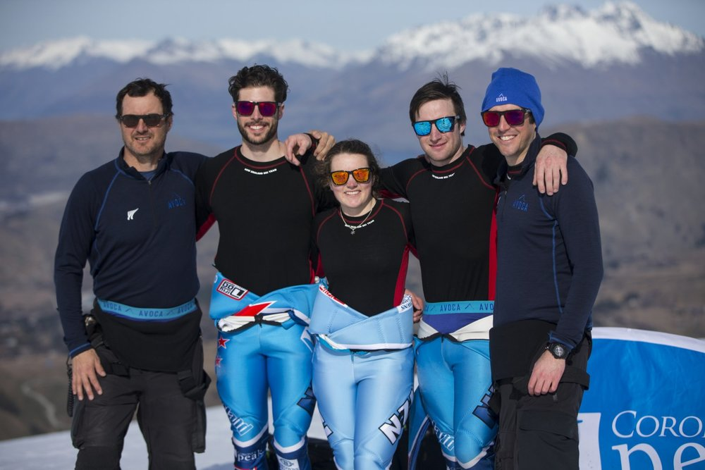 Coberger Academy, NZ Ski Team. Pic by Michael Thomas (L-R Nils Coberger, Adam Barwood, Me, Willis Feasey, Robbie Moore)