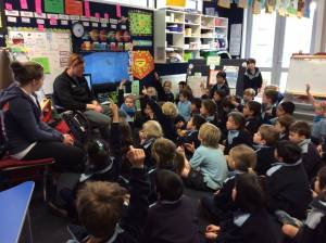 Nick Prebble and I talking to Year 2\'s at Queenstown Primary school about Winter Games