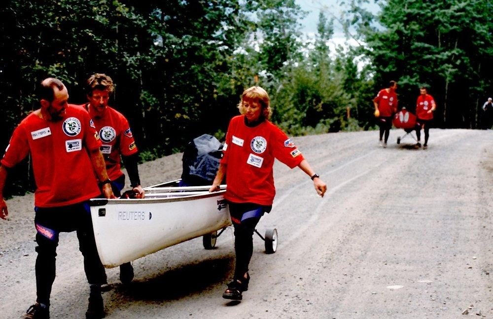 Team Reuters, canoe portage, Eco-Challenge 1996, British Columbia