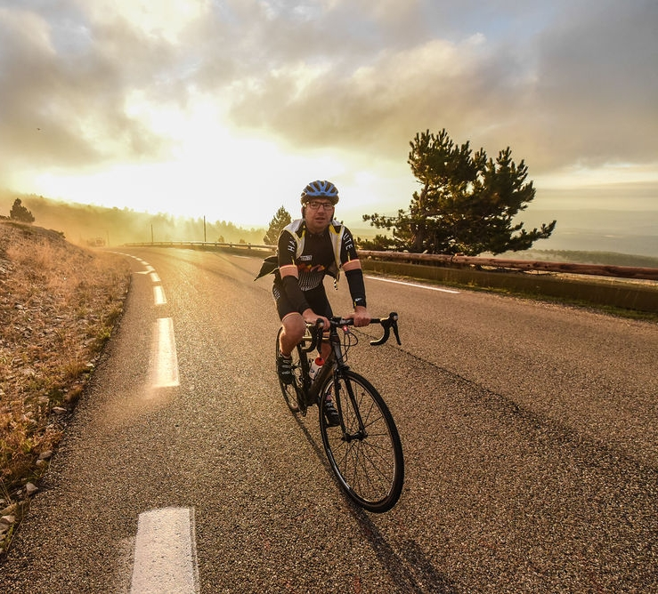 A rider on the ascent of Mt Ventoux, courtesy Haute Route/OC Sport