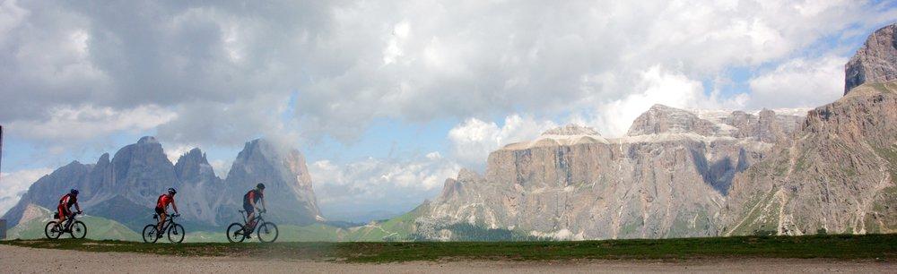 cyclists, Sella Ronda, Dolomites