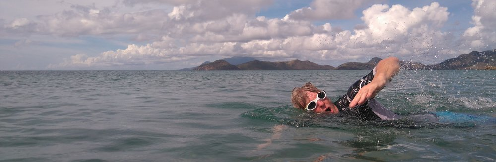 swimmer in the Narrows between Nevis and St Kitts