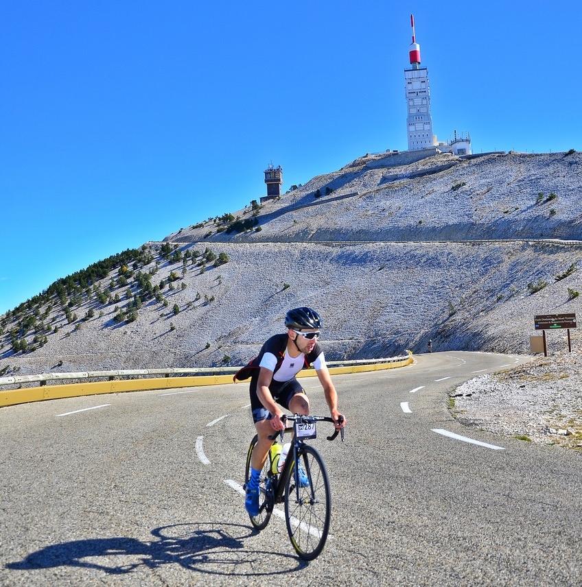 Dan Kogan approaching the summit of Mt Ventoux on Day 2