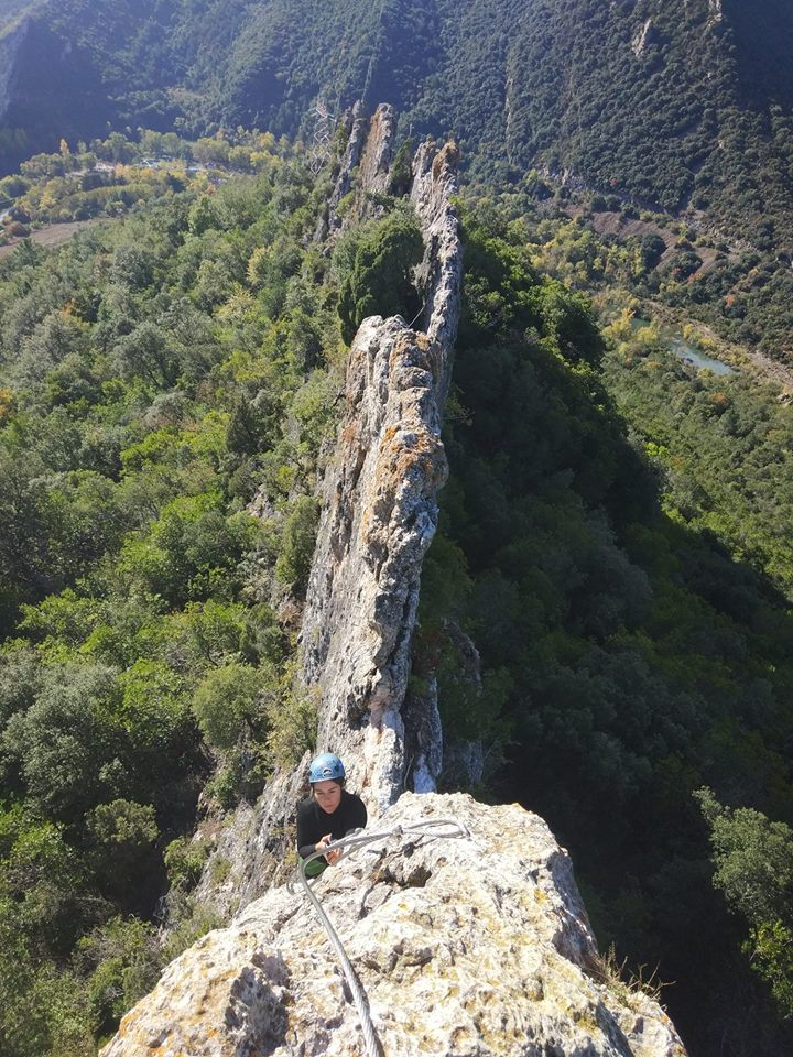 The via ferrata on the knife-edge ridgeline, courtesy Basque Expedition Race