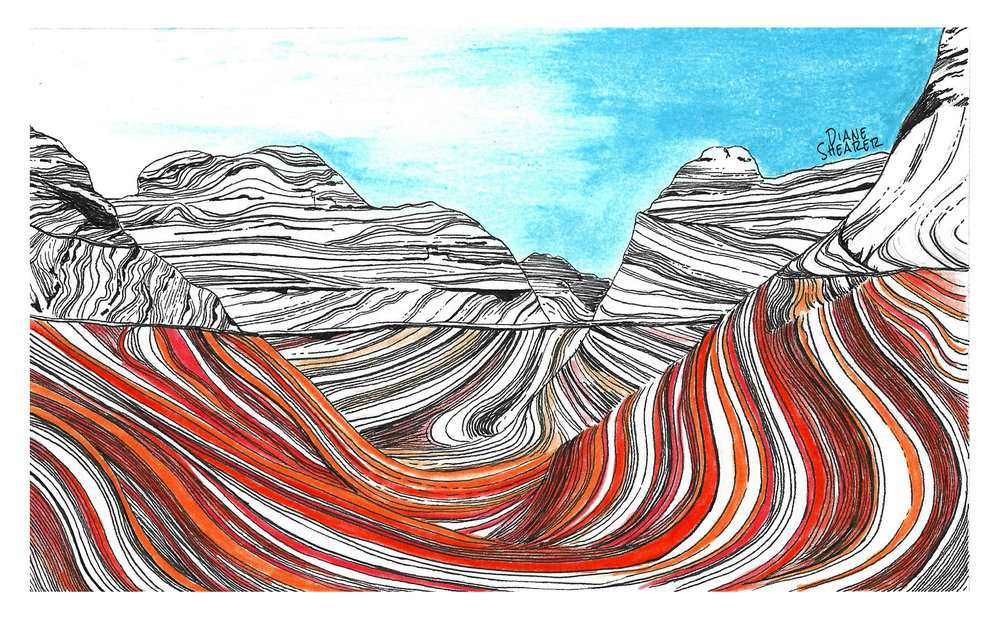The Wave rock formation, Arizona by Diane Shearer.  See more outdoors illustrations by Diane Shearer .
