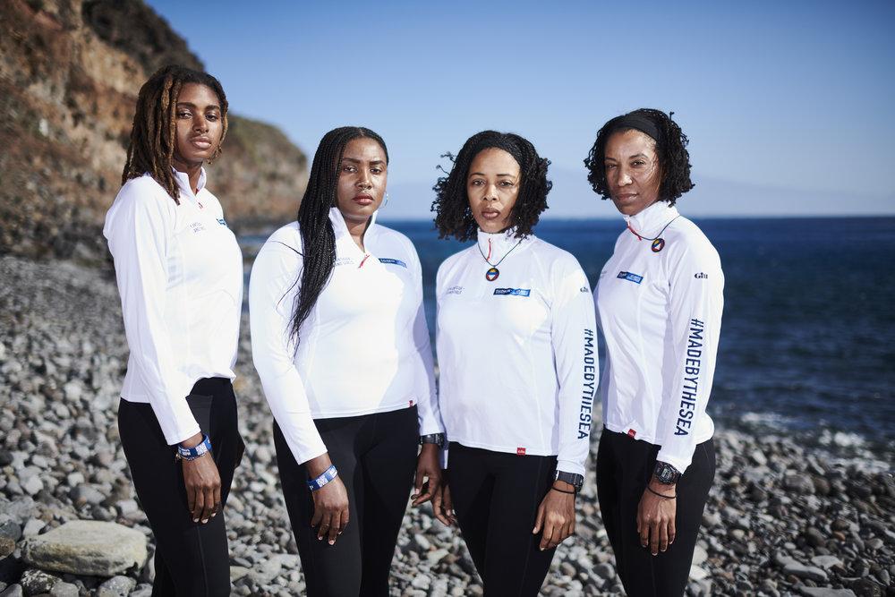 Team Antigua Island Girls at the start of the Talisker Whisky Atlantic Challenge 2018 (from L - R Cristal Clashing, Samara Emmanuel, Kevinia Francis, Elvira Bell) CREDIT BEN DUFFY.jpg